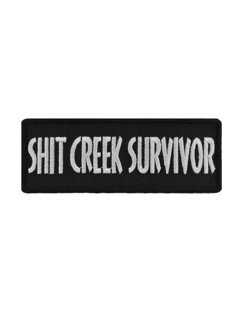 """MidMil Embroidered Patch """"Shit Creek Survivor"""" 4"""" wide x 1.5"""" high Black"""
