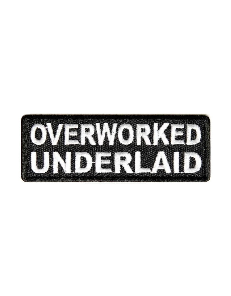 """MidMil Embroidered Patch """"Overworked Underlaid"""" 3.5"""" wide x 1.2"""" high Black"""