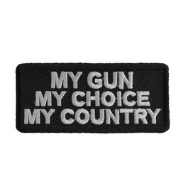 """MidMil Embroidered Patch """"My gun, My choice, My country"""" 3"""" wide x 1.2"""" high Black"""