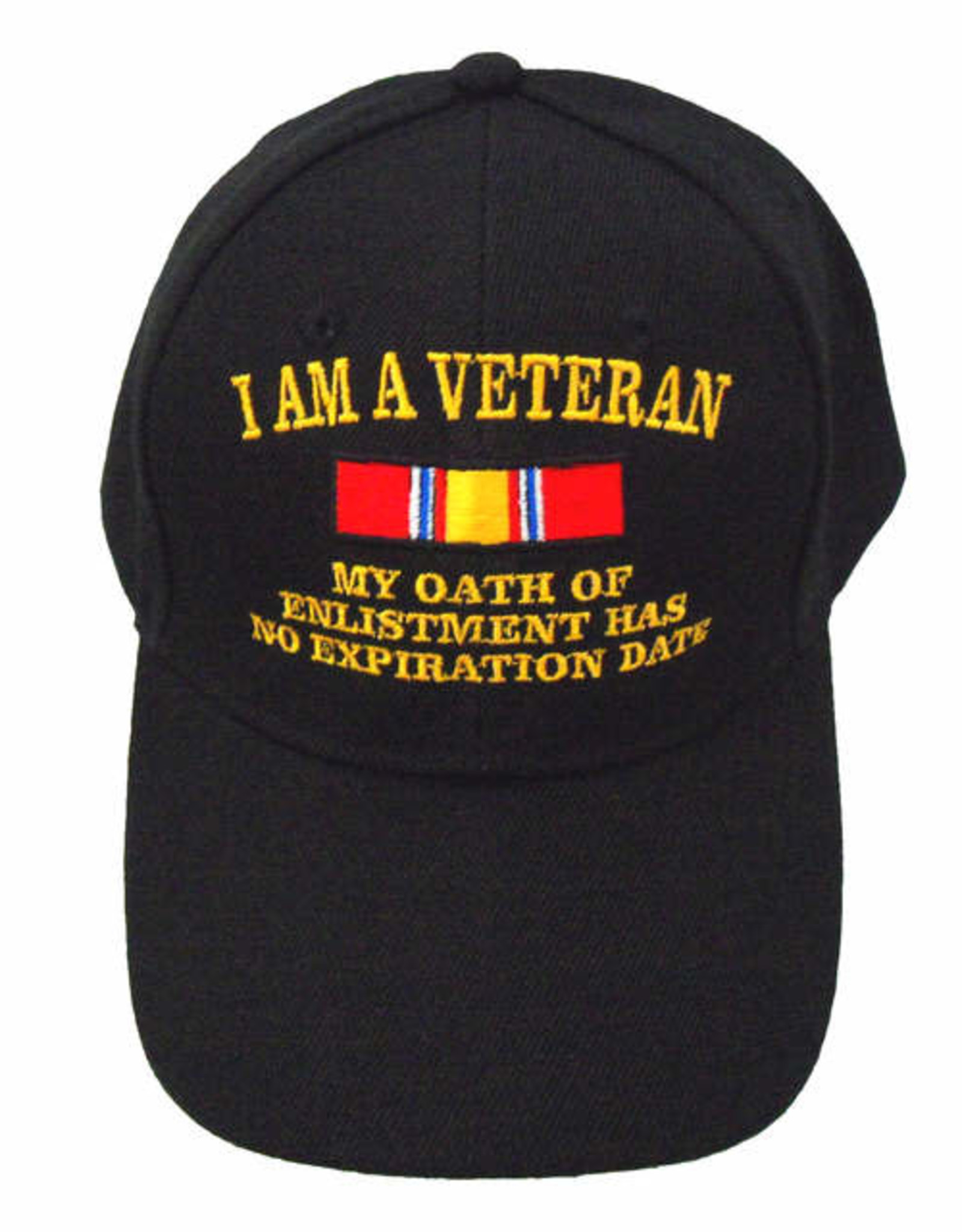 MidMil I Am a Veteran, My Oath of Enlistment Has No Expiration Date Hat with National Defense Ribbon Black