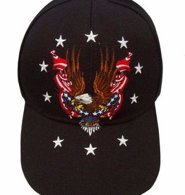 MidMil Eagle with Flags Circled with Stars Hat Black