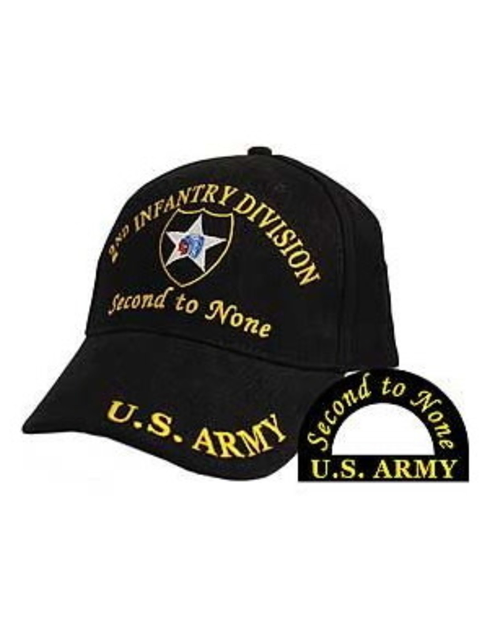 MidMil Army 2nd Infantry Division Hat With  Emblem and Motto Black