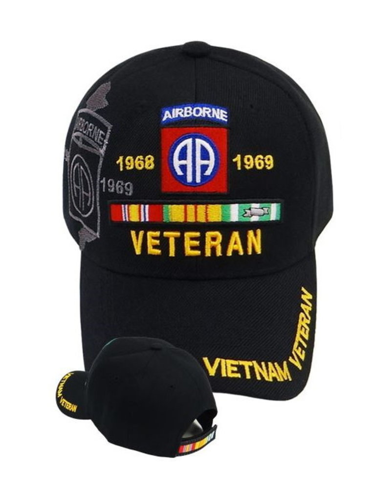 MidMil Vietnam Veteran 82nd Airborne Hat with Ribbons and  Shadow Black