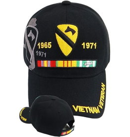 MidMil Vietnam Veteran1st Cavalry Hat with Ribbons and  Shadow Black