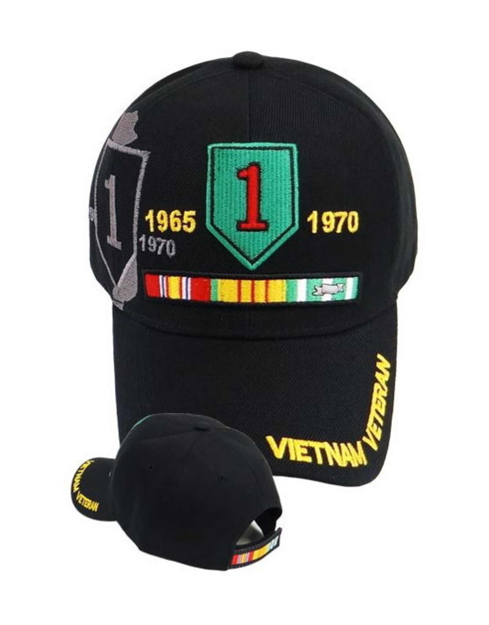 MidMil Vietnam Veteran1st Infantry Hat with Ribbons and  Shadow Black