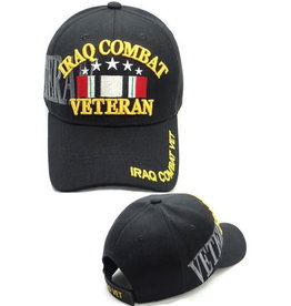 MidMil Iraq Combat Veteran Hat with Ribbon and Shadow Black