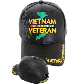 MidMil Vietnam Veteran Hat with Ribbons and Country Map Black Pleather