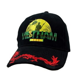 MidMil Vietnam Hat with Service Ribbon and Red Dragon Black