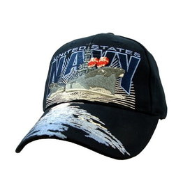 MidMil Navy Destroyer Hat with Water on Bill Dark Blue