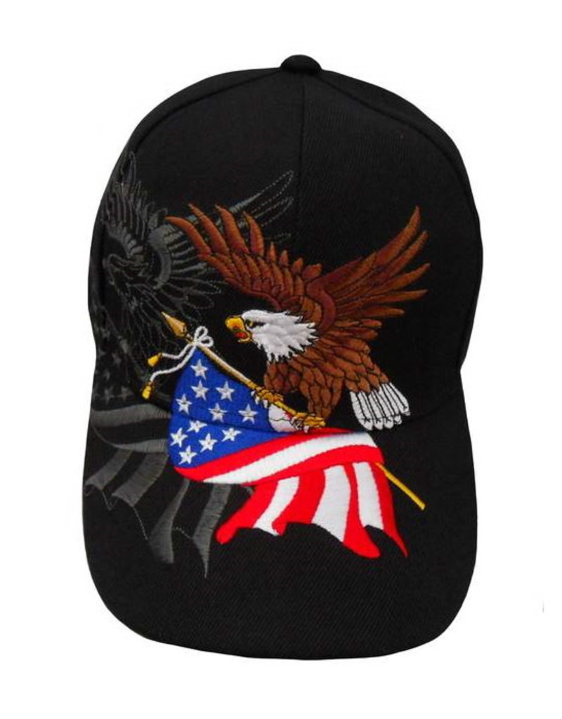 MidMil Eagle Clutching American Flag Hat with Shadow Black