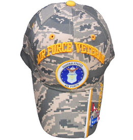 MidMil Air Force Veteran Hat with Seal and Veteran on Bill AF Camo