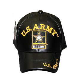 MidMil U.S. Army Hat with Star Emblem Black Leather