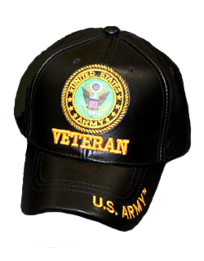 MidMil Army Veteran Hat with Seal Black Pleather