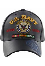 MidMil U.S. Navy Seal Vietnam Veteran Hat with Seal on bill Dark Blue Pleather
