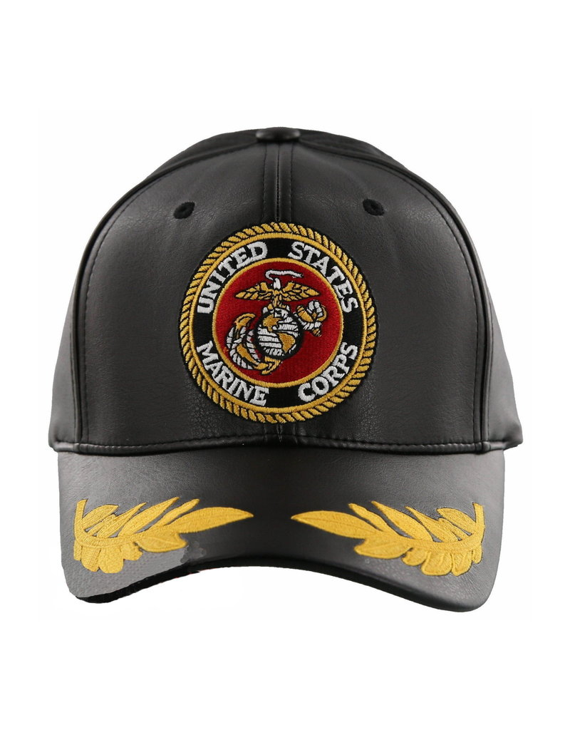 MidMil Marine Corps Seal Hat with Leaves on bill Black Pleather