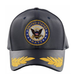 MidMil Navy Seal Hat with Leaves on bill Black Pleather