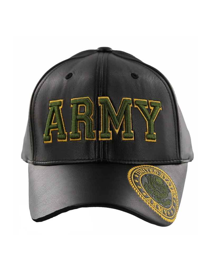 MidMil Army Hat with Seal on Bill Black Pleather
