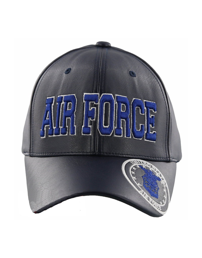 MidMil Air Force Hat with Seal on bill Dark Blue Pleather