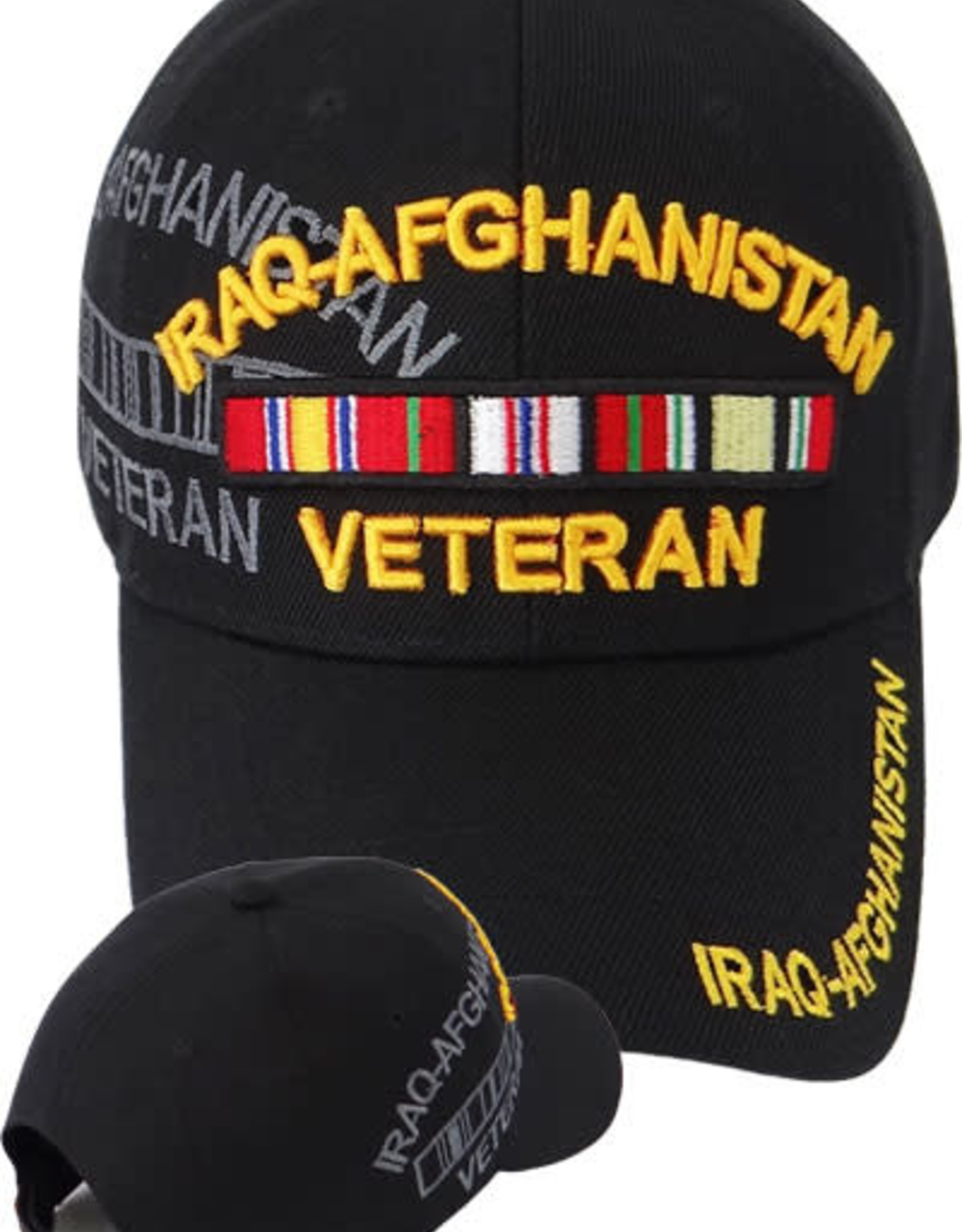 MidMil Iraq Afghanistan Veteran Hat with Ribbons and  Shadow Black