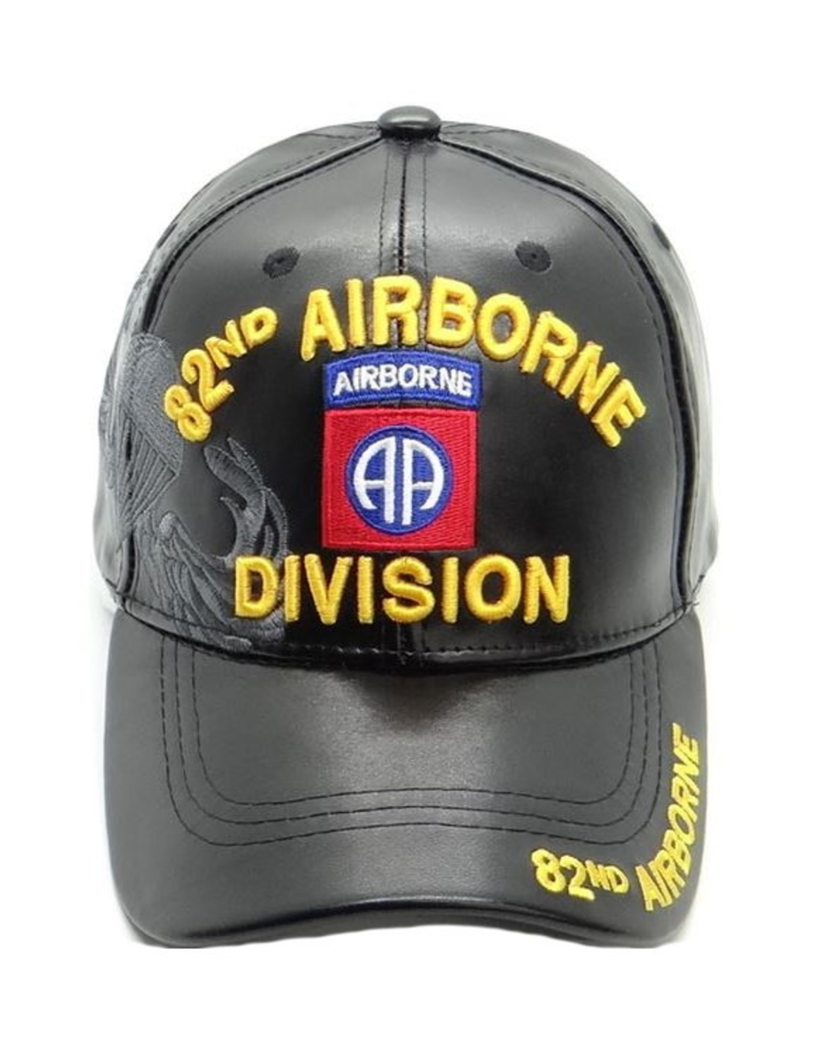 MidMil 82nd Airborne Division Pleather Hat with Emblem and Shadow Black Pleather