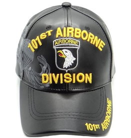MidMil 101st Airborne Division Hat with Emblem and  Shadow Black Pleather