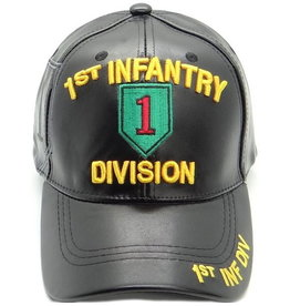 MidMil Army 1st Infantry Division Hat with Emblem Black Pleather