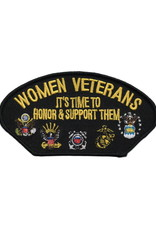 "MidMil Embroidered Woman Veterans It's Time to Honor and Support Them Patch with all Branch Emblems 5.2"" wide x 2.7"" high Black"