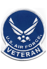 "MidMil Embroidered U. S. Air Force Veteran Patch  with Wings Emblem 3.1"" wide x 3.6"" high"