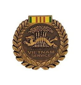 """MidMil Vietnam Service Medal with Wreath Pin Bronze 1-1/16"""""""