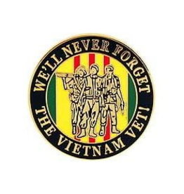 """MidMil We'll Never Forget the Vietnam Vet! Pin with 3 Men on Service Ribbon 1"""""""