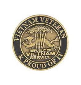 "MidMil Vietnam Veteran & Proud of it Pin  with Dragon in Bamboo 1"" Bronze"