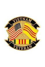 """MidMil Vietnam Veteran Pin with Flags and Ribbon 1"""""""
