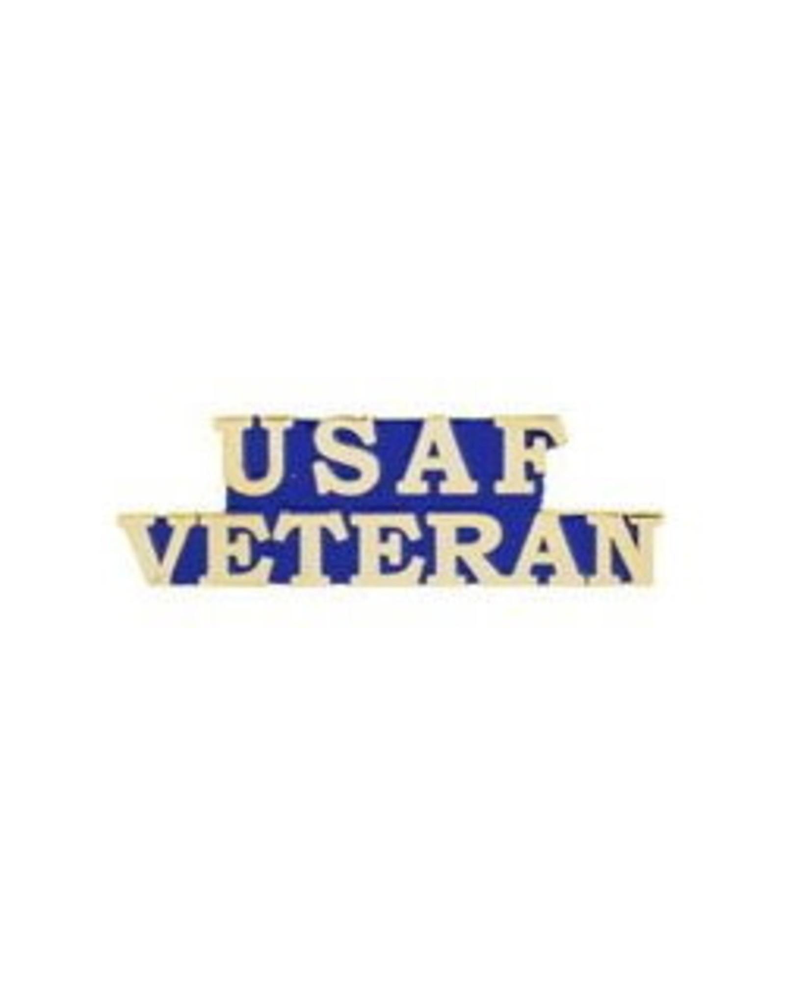 """MidMil USAF Veteran Text Pin 1-1/2"""""""