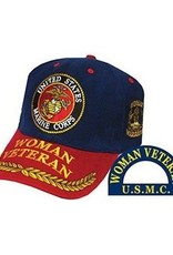 MidMil Marine Corps Woman Veteran Hat with Seal and Wheat Dark Blue/Red