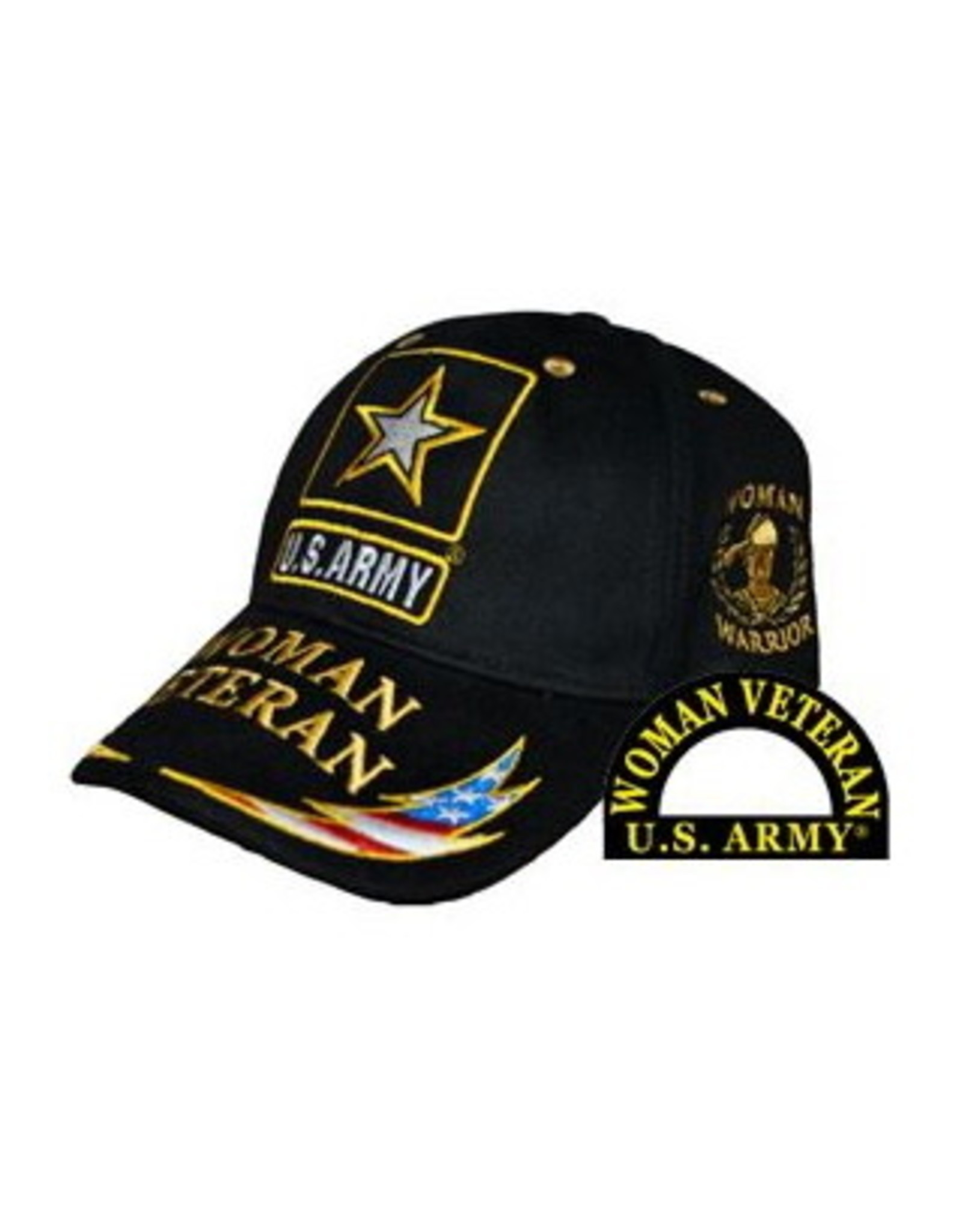 MidMil Army Woman Veteran Hat with Star Emblem and Red White Blue Lightning Bolt on Bill Black