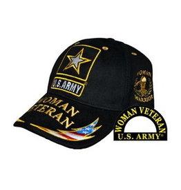 MidMil Army Woman Veteran Hat with Star Emblem and RWB Lightning Bolt on Bill Black