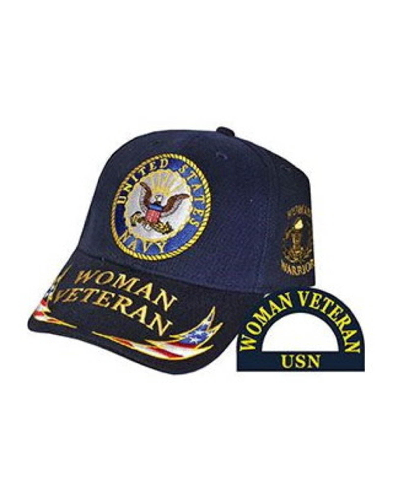 MidMil Navy Woman Veteran Hat with Seal and Woman Veteran/Red White Blue Lightning Bolt on Bill Dark Blue