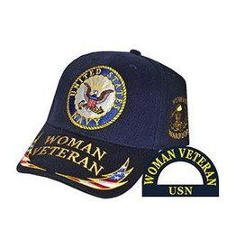 MidMil Navy Woman Veteran Hat with Seal and Woman Veteran/RWB Lightning Bolt on Bill Dark Blue