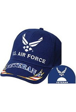 MidMil Air Force Veteran Hat with Wing Emblem and Red White Blue Lightning Bolts on Bill Royal Blue
