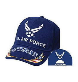 MidMil Air Force Veteran Hat with Wing Emblem and RWB Lightning Bolts on Bill Royal Blue