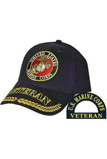 MidMil U.S. Marine Corps Seal Hat with Veteran and Wheat on Bill Black
