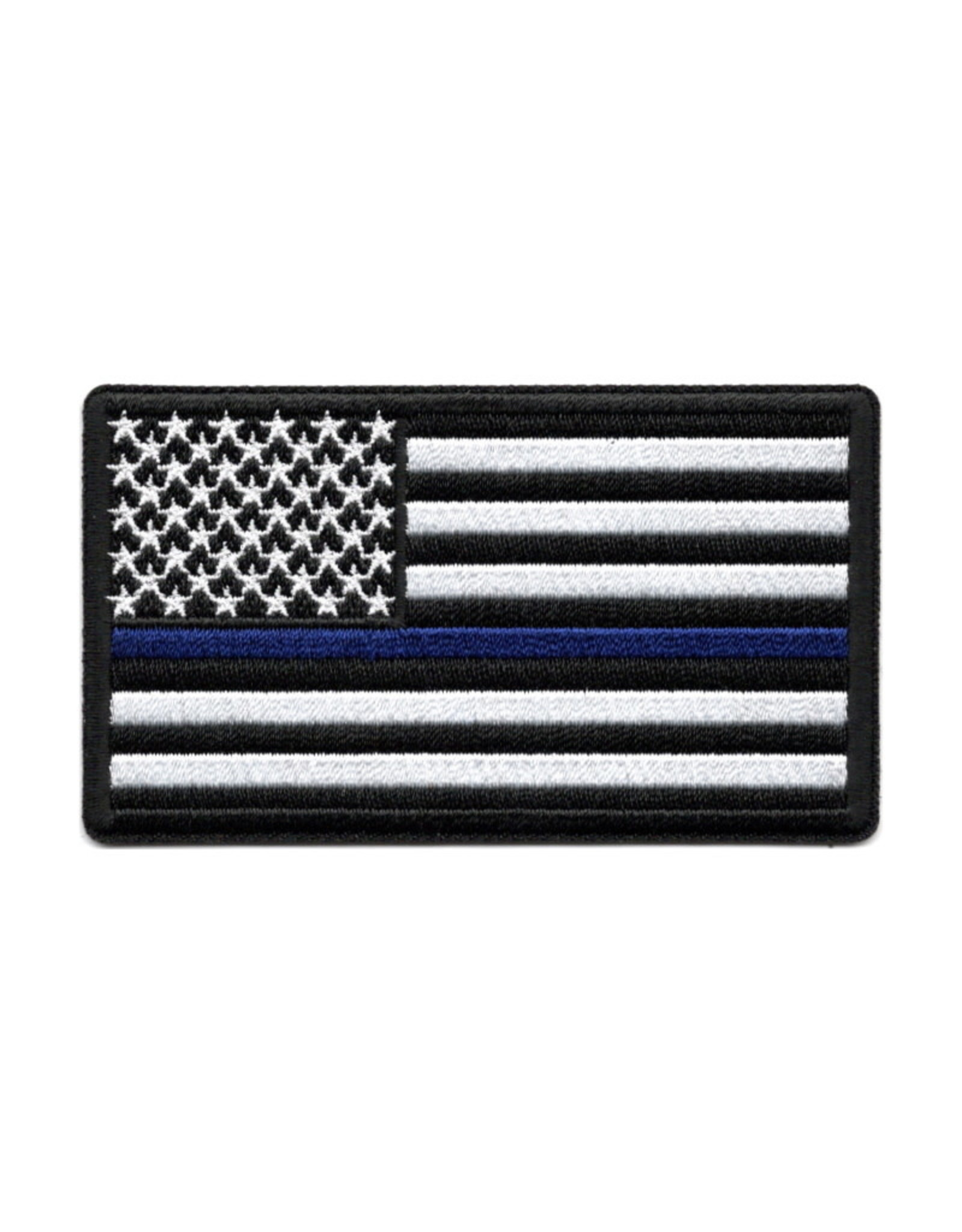 """MidMil Embroidered Thin Blue Line Police American Flag Patch 3"""" wide x 2"""" high"""