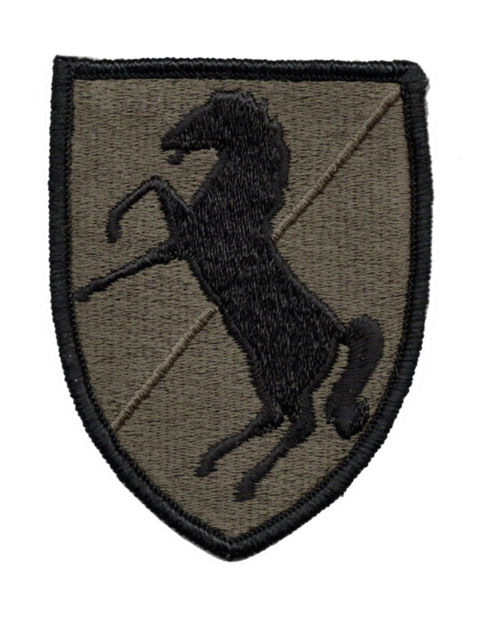 MidMil Embroidered Subdued 11th Cavalry Patch Black on Olive Drab