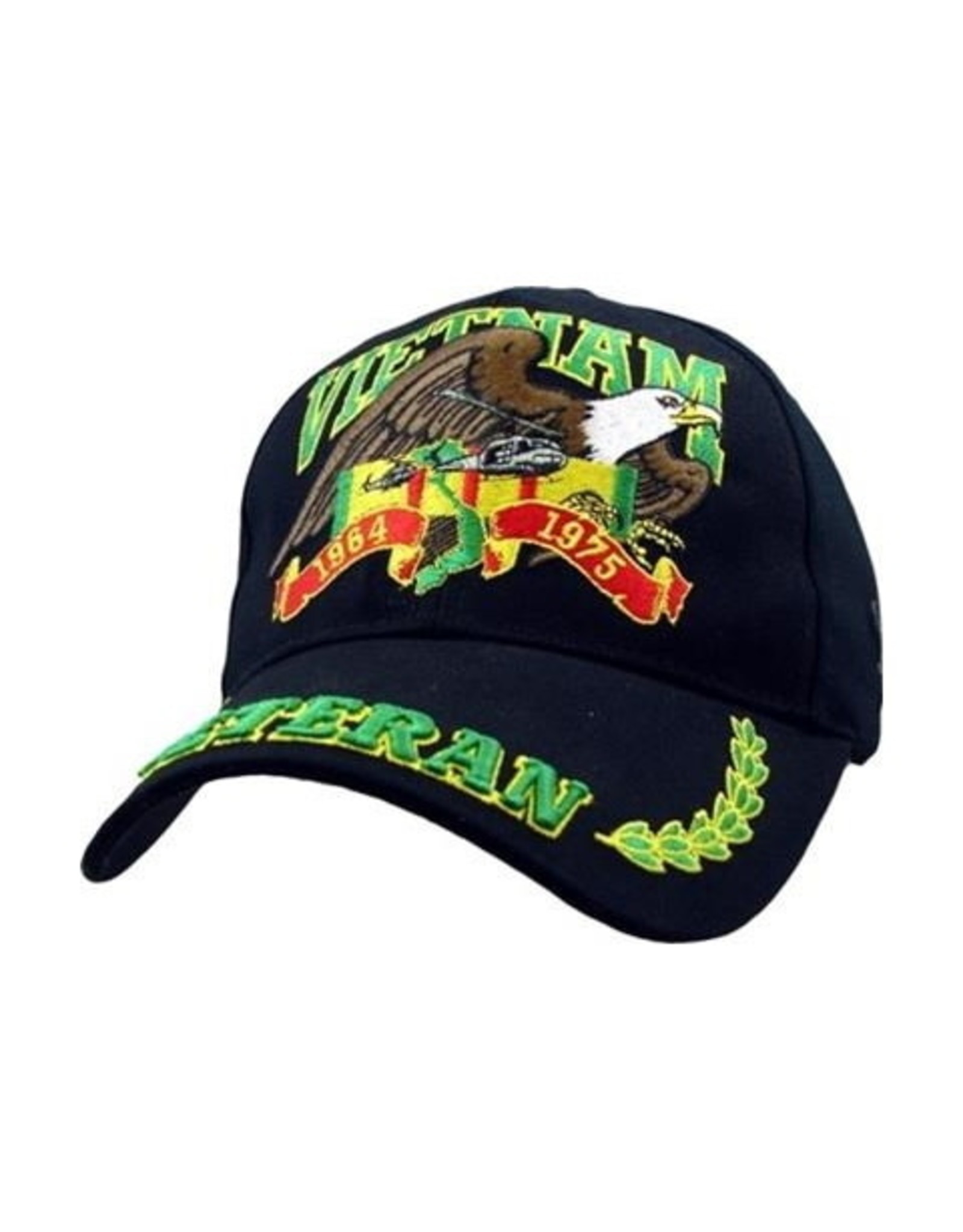 MidMil Vietnam Veteran Hat with Eagle over Service Ribbon with Veteran on bill Green/Yellow Black