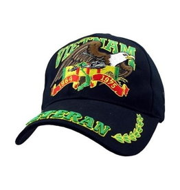 MidMil Vietnam Veteran Hat with Eagle over Service Ribbon Bill Veteran Green/Yellow Black