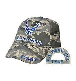 MidMil Air Force Hat with Wing Emblem on Striped ACU Digital Camouflage