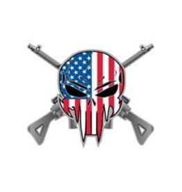 "MidMil American Flag Skull on Crossed Sniper Rifles Pin 1-1/4"" RWB"