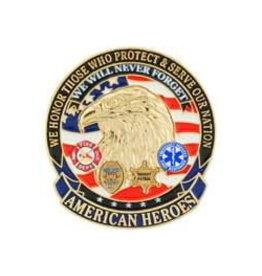 """MidMil American Heroes Pin 1 1/8"""""""