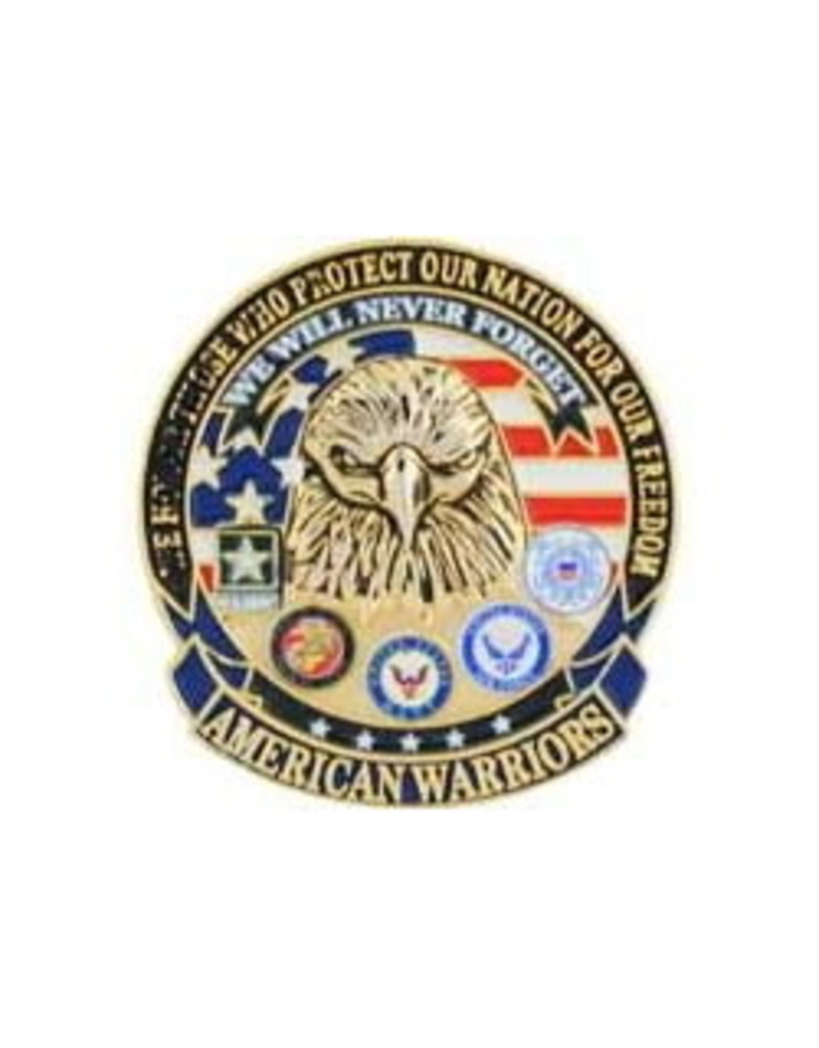MidMil American Warriors Pin with all 5 Branch Emblems 1 1/8""