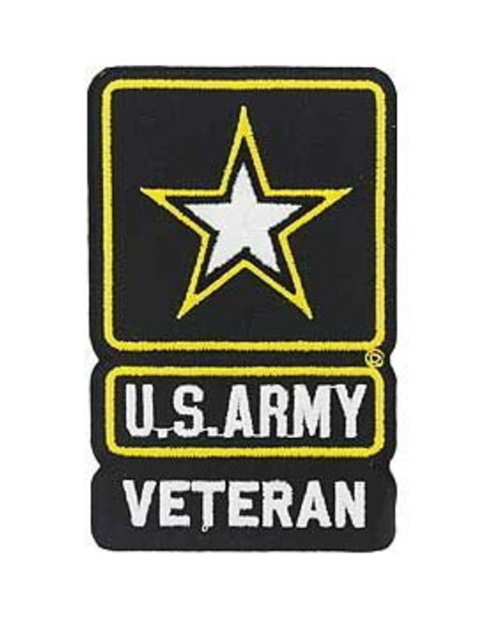 """MidMil Embroidered Army Veteran Patch with Star Emblem 2.6"""" wide x 4.2"""" high"""